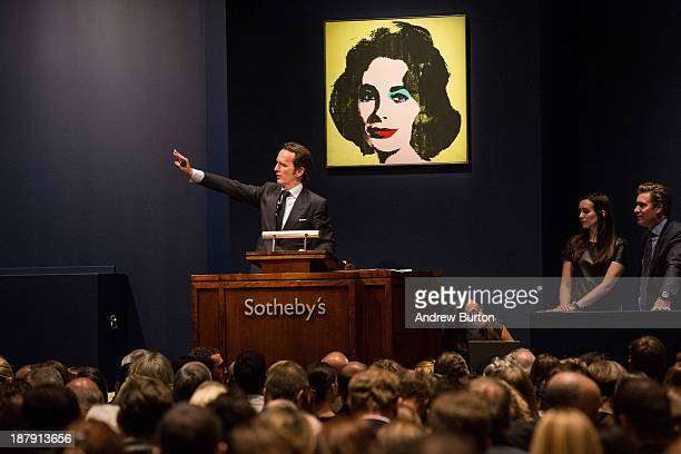Andy Warhol's artwork titled 'Liz ' is auctioned at Sotheby's for $20000 on November 13 2013 in New York City The big seller of the night was Andy...