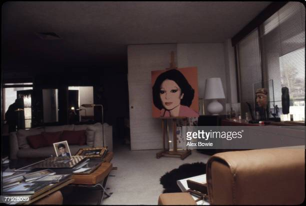 Andy Warhol's portrait of Farah Diba third wife of exiled Shah Mohammad Reza Pahlevi of Iran on display in the library of the couple's former...