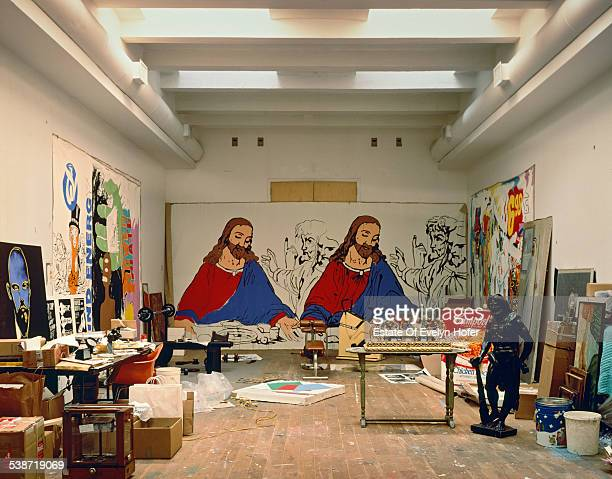 Andy Warhol's studio in New York City with his painting 'The Last Supper' in the background 1987