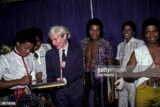 Andy Warholwith the Jacksons Marlon Jackson Tito Jackson Andy Warhol Jackie Jackson Michael Jackson and Randy Jackson at Madison Square Garden on...