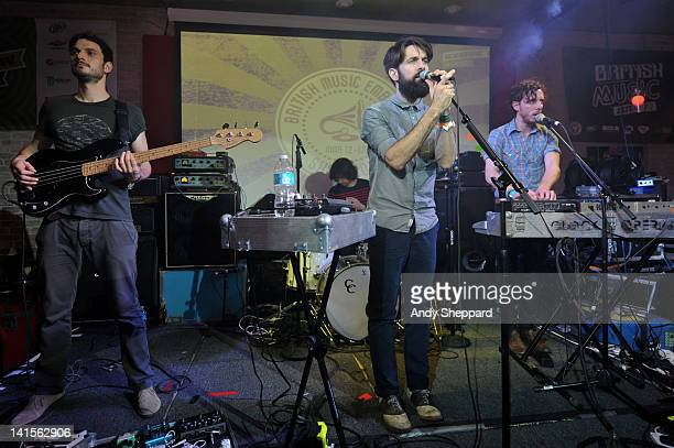 Andy West Che Albrighton Guy Connelly and Dan Armstrong of Clock Opera perform on stage at The British Music Embassy Latitude 30 during SXSW Music...