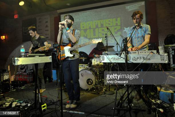 Andy West Guy Connelly Che Albrighton and Dan Armstrong of Clock Opera perform on stage at The British Music Embassy Latitude 30 during SXSW Music...