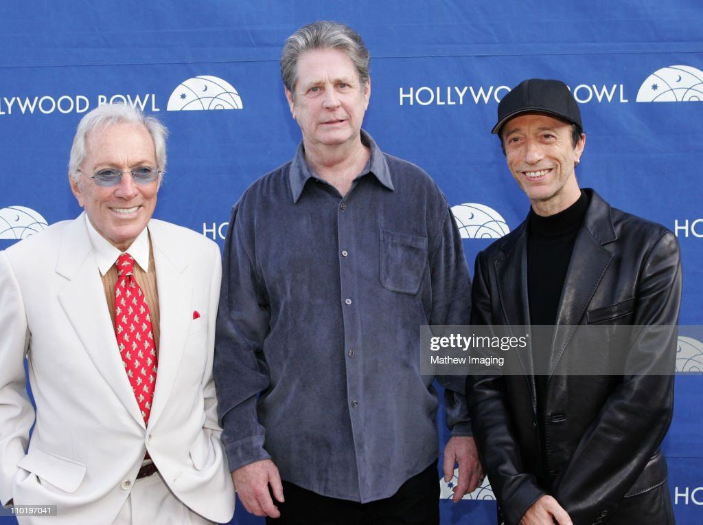 Andy Williams, Brian Wilson and Robin Gibb during The Hollywood Bowl Fifth Annual Hall Of Fame Concert-Backstage at The Hollywood Bowl in Los Angeles, CA, United States.
