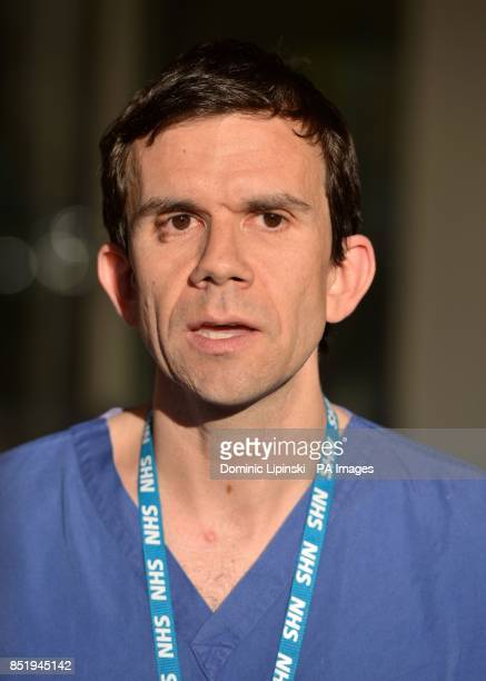 Andy Williams consultant burns and plastic surgeon speaks to the waiting media outside Chelsea and Westminster Hospital in London where acid attack...