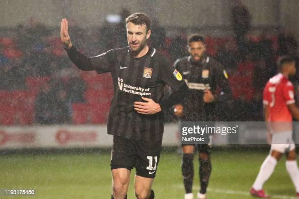 Andy Williams of Northampton Town FC celebrates after scoring his sides second goal during the Sky Bet League 2 match between Salford City and...