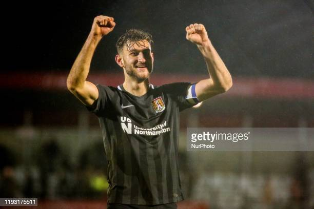 Andy Williams of Northampton Town FC celebrates following the final whistle during the Sky Bet League 2 match between Salford City and Northampton...