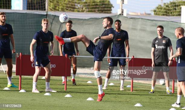 Andy Williams of Northampton Town in action during a game of head tennis during a training session at Pinatar Arena on July 10 2019 in Murcia Spain