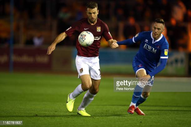 Andy Williams of Northampton Town looks to control the ball during the Sky Bet League Two match between Carlisle United and Northampton Town at...