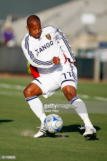 Andy Williams of Real Salt Lake crosses the ball against the Kansas City Wizards during the game at Community America Ballpark on June 28 2008 in...