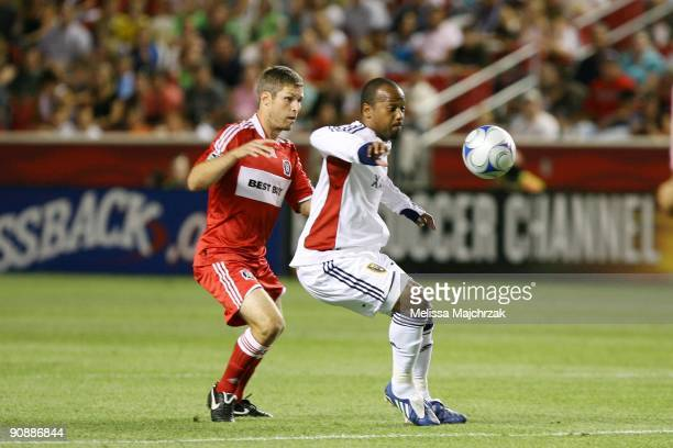 Andy Williams of Real Salt Lake goes for the ball against Logan Pause of Chicago Fire at Rio Tinto Stadium on September 12 2009 in Sandy Utah