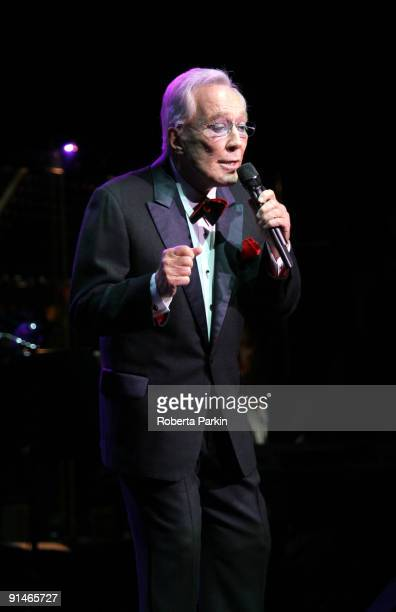 Andy Williams performs his only UK concert on stage at the Royal Albert Hall on October 5 2009 in London England