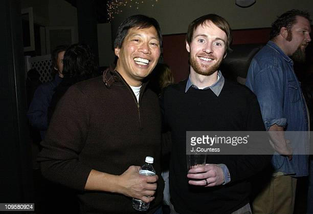 Andy Wing and Aaron Ruell during 2005 Park City Fat Dot/Nrgi Launch Party at Riverhorse in Park City Utah United States