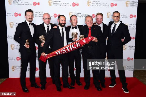 Andy Worboys Nicholas Bennett Daniel Gordon Andy Boag Phil Scraton Tim Atack and John Battsek with the awards for Best Single Documentary in the...