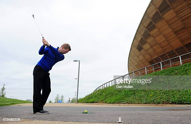Andy Wright of Foundation Golf plays his tee shot on the 1st hole during the UK Cross Golf Open at Queen Elizabeth Olympic Park on May 15 2015 in...