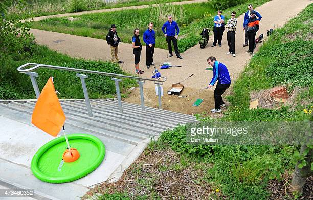 Andy Wright of Golf Foundation hits his tee shot on the 6th hole during the UK Cross Golf Open at Queen Elizabeth Olympic Park on May 15 2015 in...