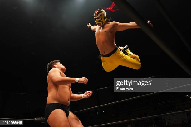 Andy Wu and Ryuki Honda compete during the 'Wrestle1' ProWrestling at the Ota City General Gymnasium on March 15 2020 in Tokyo Japan