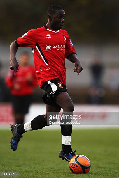 Andy Yiadom of Hayes Yeading in action during the Hayes and Yeading United FC and Wycombe Wanderers FA Cup 1st Round Proper match at Church Road on...