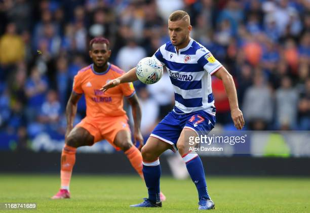 Andy Yiadom of Reading controls the ball during the Sky Bet Championship match between Reading and Cardiff City at Madejski Stadium on August 18 2019...