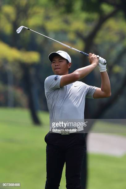 Andy Zhang of China plays his shot on the first hole of Round 3 on day 3 of the Singapore Open at Sentosa Golf Club on January 20 2018 in Singapore