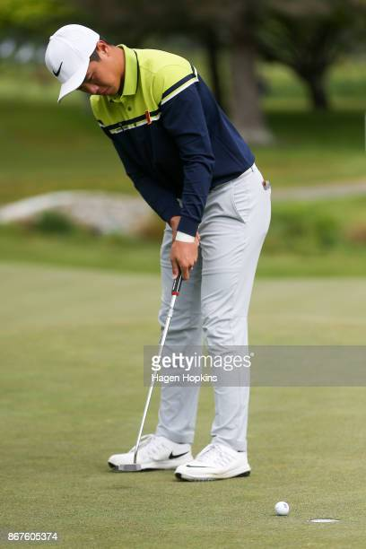Andy Zhang of China putts during the AsiaPacific Amateur Championship at Royal Wellington Golf Club on October 29 2017 in Wellington New Zealand