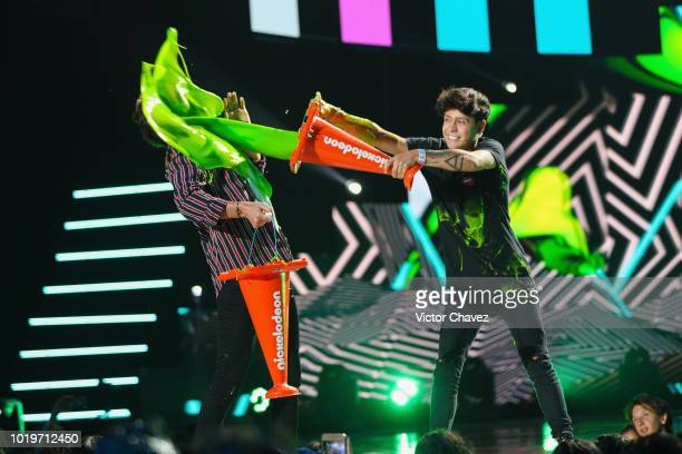 Andy Zurita and Mario Ruiz on stage during the Nickelodeon Kids' Choice Awards Mexico 2018 at Auditorio Nacional on August 19 2018 in Mexico City...