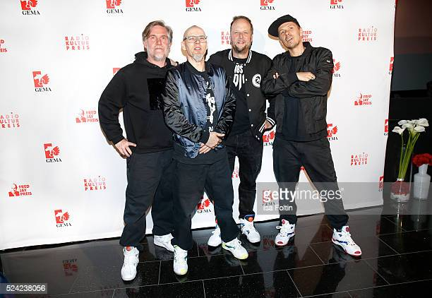 AndYpsilon Thomas D Smudo and Michi Beck of the band Die Fantastischen Vier pose during the Fred Jay Award 2016 on April 25 2016 in Berlin Germany
