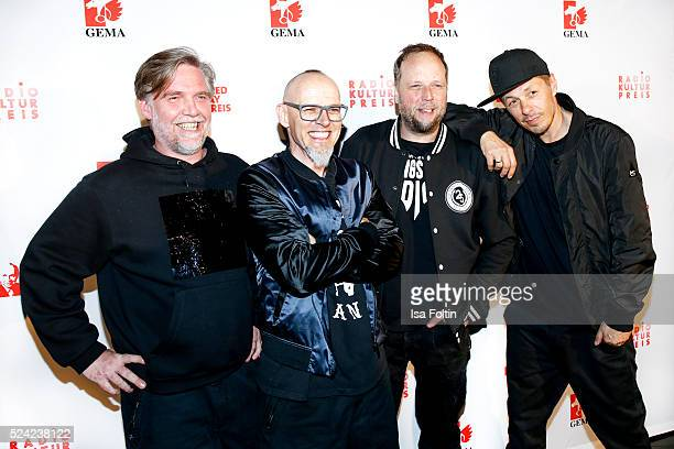 AndYpsilon, Thomas D, Smudo and Michi Beck of the band Die Fantastischen Vier pose during the Fred Jay Award 2016 on April 25, 2016 in Berlin,...
