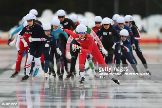 Ane By Farstad of Norway leads the pack in the ladies mass start during day three of the World Junior Speed Skating Championships at Oulunkyla Sports...