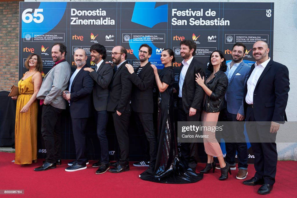 Ane Gabarain, Joxean Bengoetxea, Javier Camara, Diego San Jose, Borja Cobeaga, Julian Lopez, Miren Ibarguren, Gorka Otxoa, Barbara Santa-Cruz, Juan Mayne and Javier Mendez on the red carpet for the premiere of the Netflix Film 'Fe De Etarras' at San Sebastian International Film Festival 2017 on September 29, 2017 in San Sebastian, Spain.