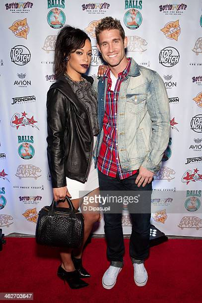 Aneesa Ferreira and CJ Koegel attend MTV's 'The Real World ExPlosion' Season Premiere Party at Bottomz Up Bar and Grill on January 14 2014 in New...