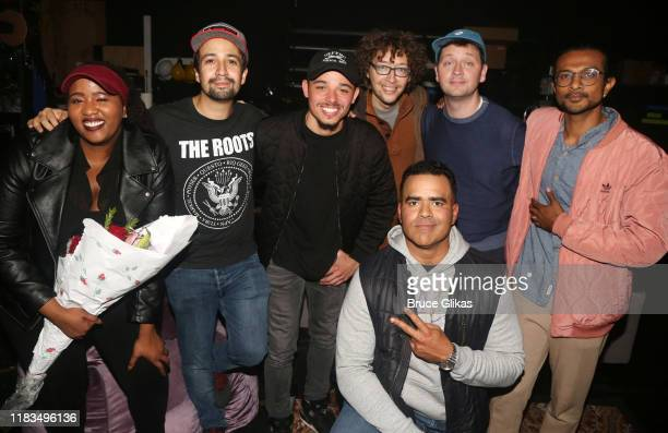 "Aneesa Folds, Lin-Manuel Miranda, Anthony Ramos and Christopher Jackson pose backstage with the cast of the new hip-hop musical ""Freestyle Love..."
