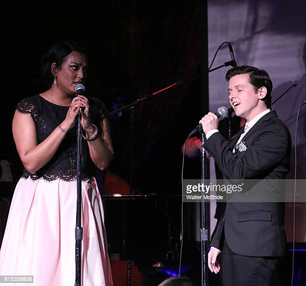 Aneesh Sheth and Jax Jackson performing at The Lilly Awards Broadway Cabaret at the Cutting Room on October 17 2016 in New York City