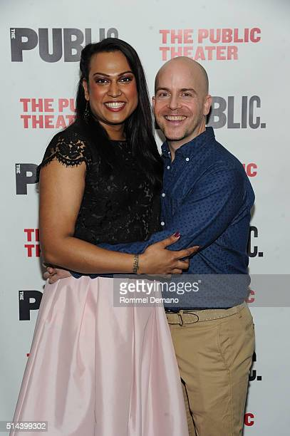 Aneesh Sheth and Jeffrey Kuhn attend 'Southern Comfort' Opening Night at The Public Theater on March 8 2016 in New York City