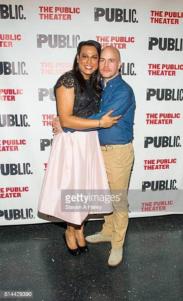Aneesh Sheth and Jeffrey Kuhn attend the 'Southern Comfort' opening night at The Public Theater on March 8 2016 in New York City