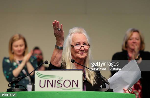 Aneira Thomas the first baby to be born on the NHS addresses the Unison Health Conference at the Brighton Centre