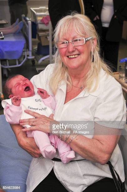 Aneira Thomas the first baby to be born on the NHS with newborn baby Kimberley Davies who was born on Monday 23 June 2008 at Singleton Hospital...