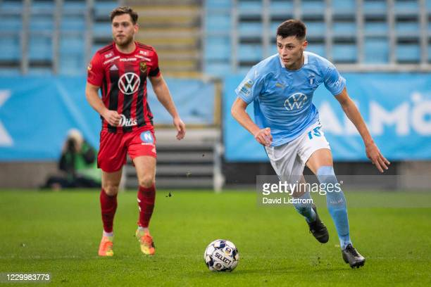 Anel Ahmedhodzic of Malmo FF during the Allsvenskan match between Malmo FF and Ostersunds FK at Eleda Stadion on December 6, 2020 in Malmo, Sweden.