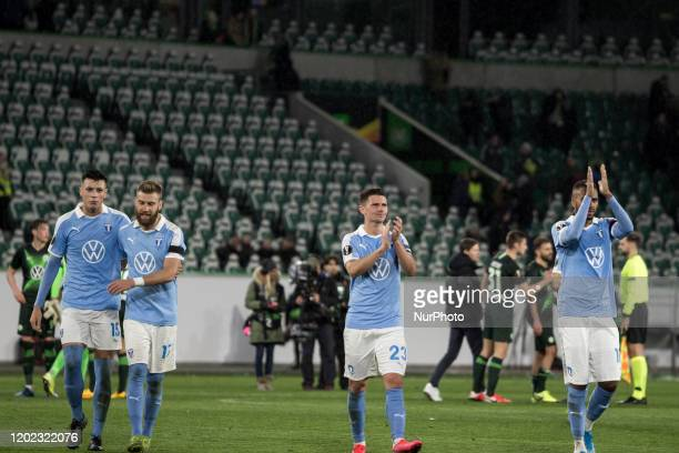 Anel Ahmedhodzic, Rasmus Bengtsson, Marcus Antonsson and Isaac Kiese Thelin of Malmö after the UEFA Europa League, last 32, first leg football match...
