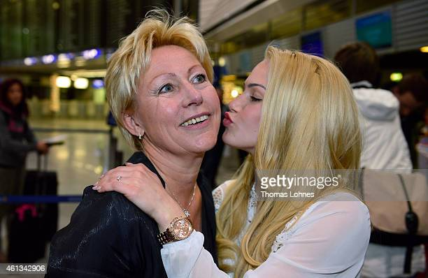 Anelina Heger poses with her mother Manuela before the flight to Australia as a participant in the 2015 RTL-TV-Show 'Dschungelcamp: Ich bin ein Star...