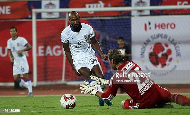 Anelka of Mumbai City FC takes a shot against FC Pune City during the Indian Super League match at Shree Shiv Chhatrapati Sports Complex Stadium on...