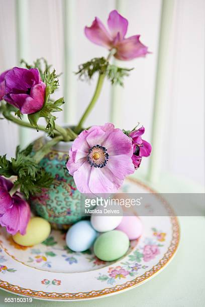 Anemone flowers in a vase, an Easter still life