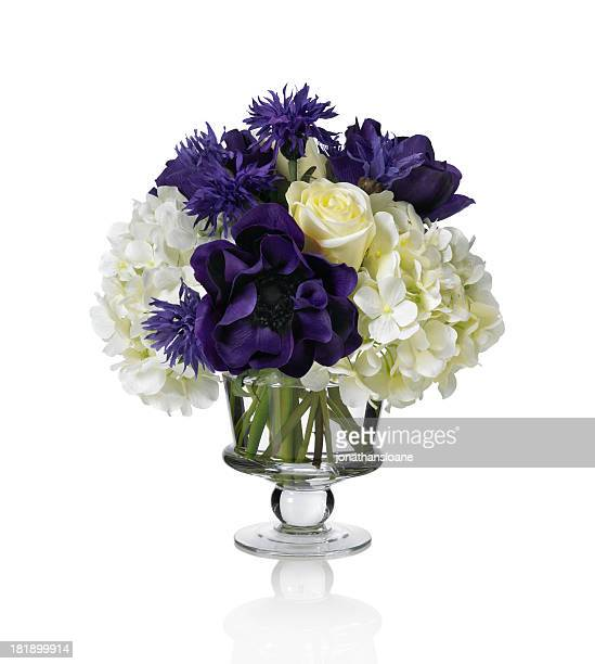 Anemone, hydrangea and rose bouquet on white background