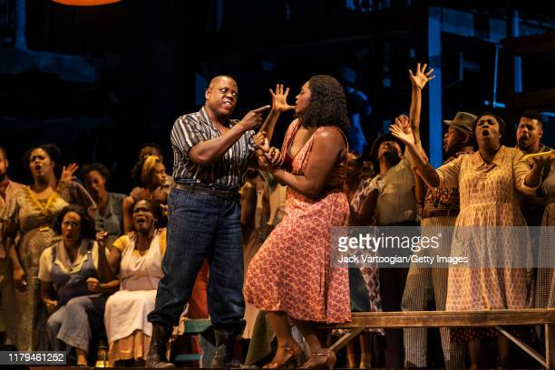 Anerican bass-baritone Alfred Walker and soprano Angel Blue perform at the final dress rehearsal prior to the premiere of the new Metropolitan Opera,...