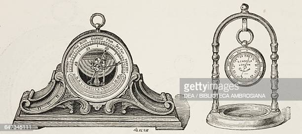 Aneroid Barometer with stand from An illustrated and descriptive catalogue of surveying philosophical mathematical optical photographic and standard...