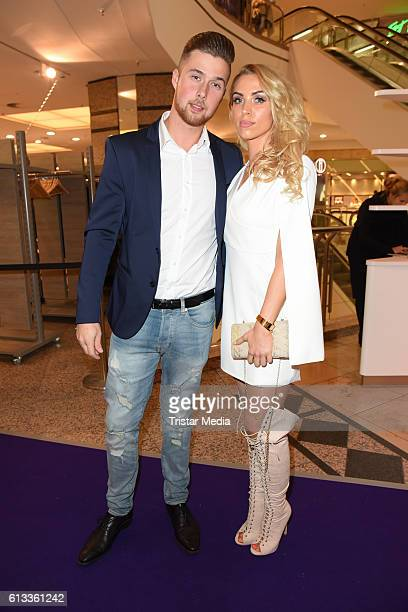 Aneta Sablik and her boyfriend Kevin Zuber attend the Late Night Shopping Party on October 7 2016 in Hamburg Germany