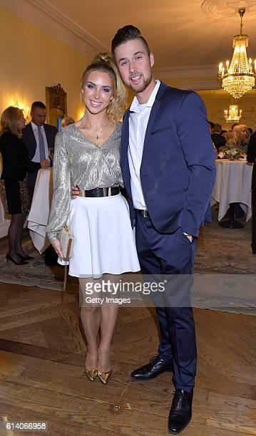 Aneta Sablik and Kevin Zuber attend the 'Heldenherz Kinderschutzpreis' at Hotel Louis C Jacob on October 11 2016 in Hamburg Germany