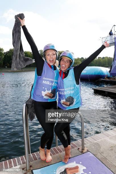 Aneta Sablik and Sarah Lombardi during the Milka Charity Blobbing-Event at Hamburger Stadtpark on May 22, 2019 in Hamburg, Germany.