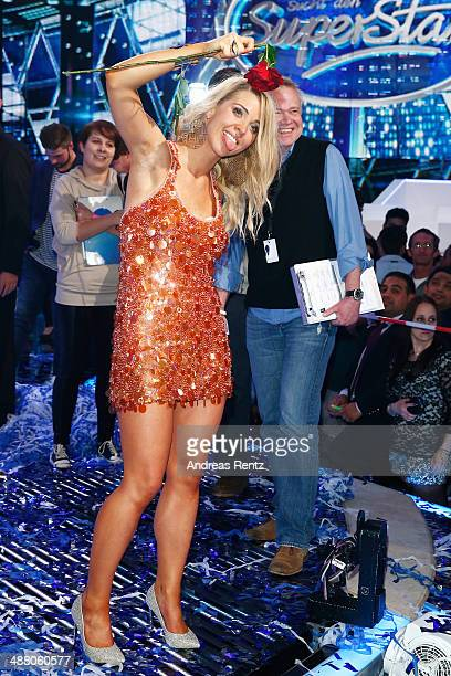 Aneta Sablik celebrates on stage after winning the final of 'Deutschland sucht den Superstar' show at Coloneum on May 3 2014 in Cologne Germany