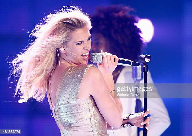 Aneta Sablik performs at the rehearsal for the 1st 'Deutschland sucht den Superstar' show at Coloneum on March 29 2014 in Cologne Germany
