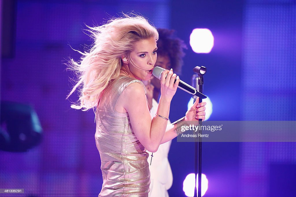 Aneta Sablik performs at the rehearsal for the 1st 'Deutschland sucht den Superstar' (DSDS) show at Coloneum on March 29, 2014 in Cologne, Germany.